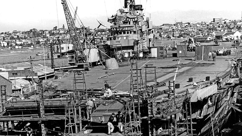 HMAS Melbourne under repair