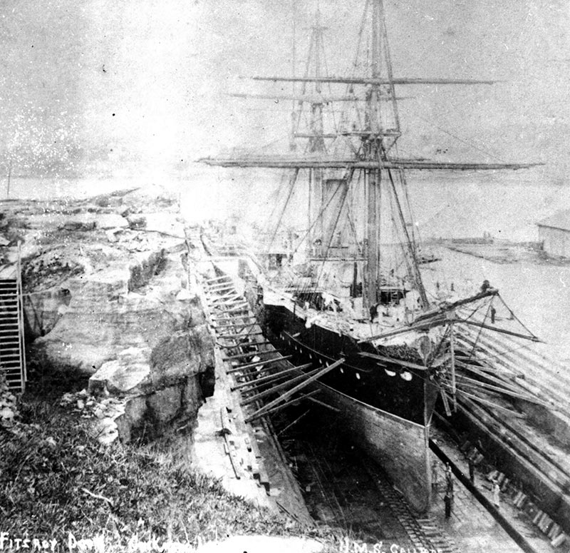 HMS Calliope in the Fitzroy Dock