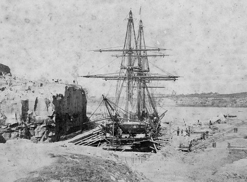HMS Curacoa in the Fitzroy Dock in 1865