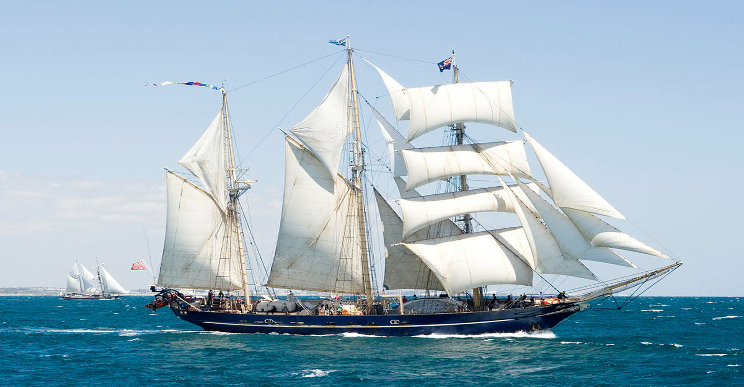 Leeuwin II in the Tall Ship Regatta off the coast of Fremantle