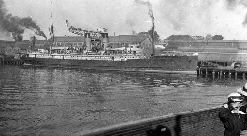 Loongana alongside the Cruiser Wharf at Cockatoo Island in the 1930s
