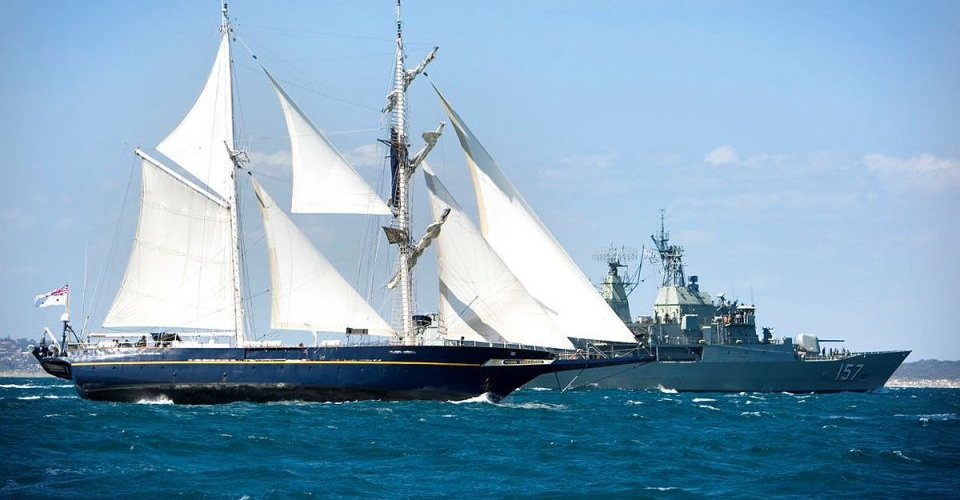 STS Young Endeavour with HMAS Perth passing by during the Tall Ship Regatta 2009