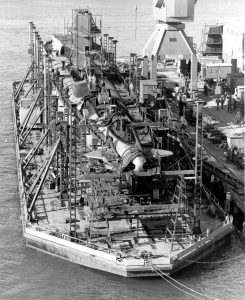 The submarine HMAS Otway under refit on the slave dock