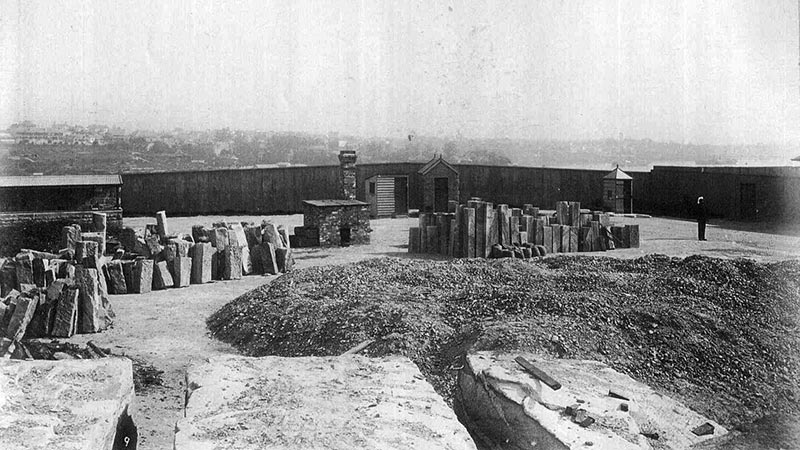 View of labour yard showing stone quarry and stone dressed