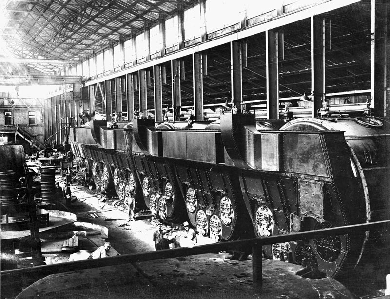 The boilers for the cargo ships Fordsdale and Ferndale underconstruction in the Boiler Shop in the early 1920s