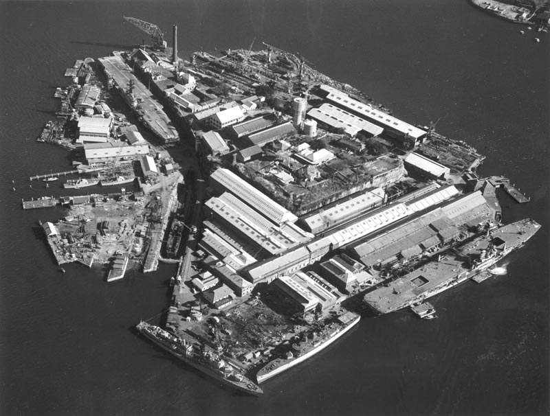 A very busy Cockatoo Island in 1969