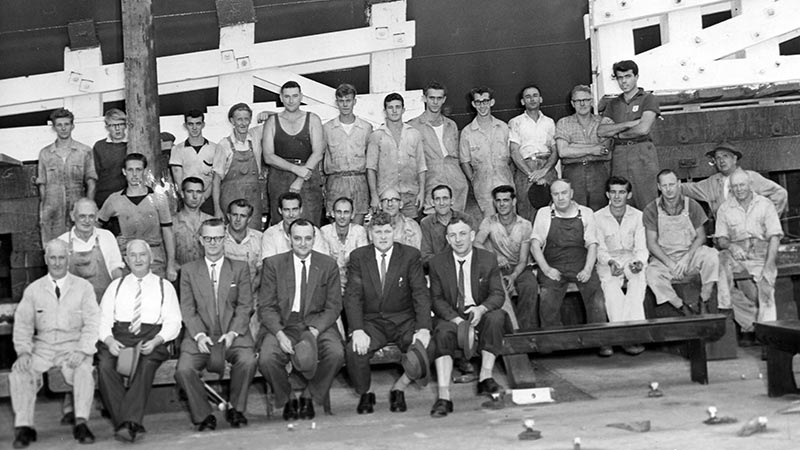 The shipwright launching crew for HMAS Vampire, 1956