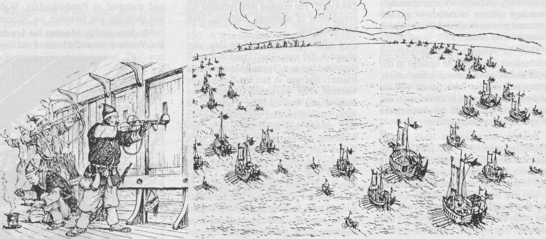 Supported by a small number of iron-clad turtle ships, a Korean fleet (right) approaches the invading Japanese fleet. When within weapon range (left), Korean seamen engage the enemy with musket fire and arrows.