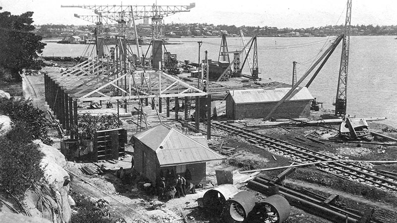 The northern shipyard under construction in late 1912