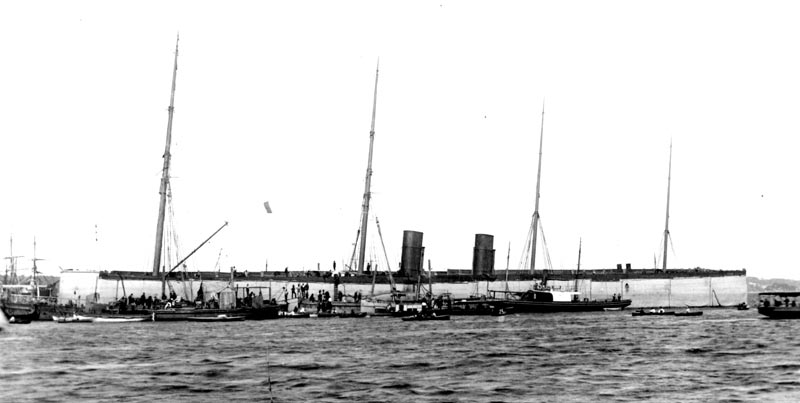 Salvage operations underway for the liner Austral in Neutral Bay in 1882