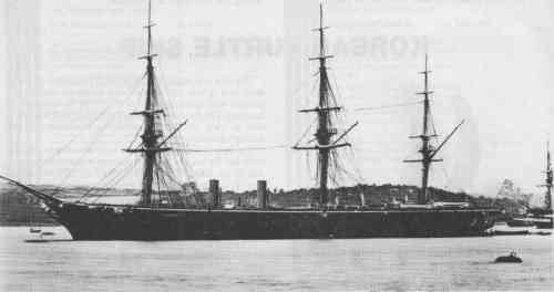 HMS WARRIOR at Plymouth in 1863